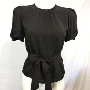 EXPRESS Black Belted Short Sleeve Blouse